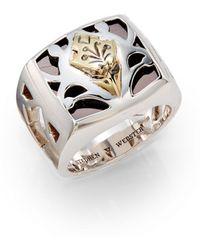 Stephen Webster Sterling Silver Carved Inlay Ring - Lyst