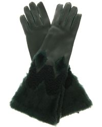 Burberry Prorsum Zoe Leather And Shearling Gloves - Lyst
