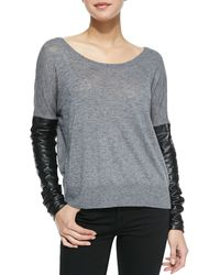Milly Leather Sleeve Sweater - Lyst