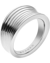 Skagen - Classic Silver Steel Ring - Lyst