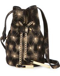 Halston Heritage | Metallic Leather Mini Bucket Bag | Lyst