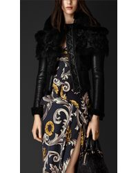 Burberry Shearling And Fur Biker Jacket - Lyst