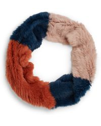 Annabelle New York Colorblock Rabbit Fur Infinity Scarf - Lyst