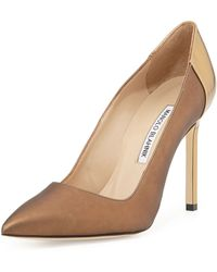 Manolo Blahnik Bb Coated Satin Combo Pump - Lyst