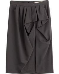 Michael Kors Draped Wool Skirt - Lyst