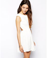 Glamorous Floral Embossed Skater Dress with Open Back - Lyst