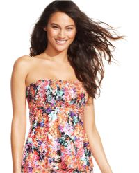 Kenneth Cole Reaction Floral Adjustable Halter Tankini Top - Lyst
