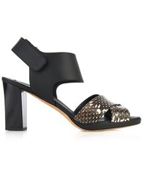 Max Mara Mito Leather and Snakeskin Sandals - Lyst