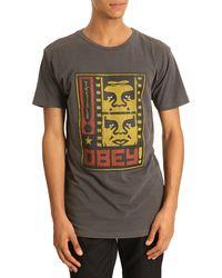 Obey Tshirt Filmstrip Charcoal Print - Lyst