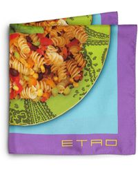 Etro Silk Pasta-Print Pocket Square - Lyst