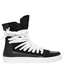 Kris Van Assche Leather & Suede High Top Sneakers - Lyst