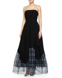Haute Hippie Bustier Layered-Plaid-Tulle Gown - Lyst