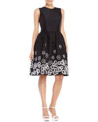 Jason Wu Black Beaded Fit & Flare Dress - Lyst
