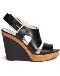 MICHAEL Michael Kors 'Carla' Leather Platform Wedge Sandals - Lyst