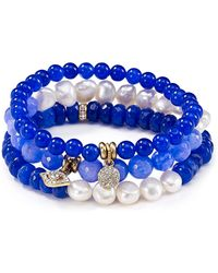 Sequin - Beaded Peace Evil Eye Bracelets, Set Of 3 - Lyst