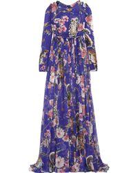 Dolce & Gabbana Crystal-embellished Printed Silk-chiffon Gown - Lyst