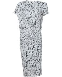 Helmut Lang Shirt Sleeve Printed Jersey Dress - Lyst
