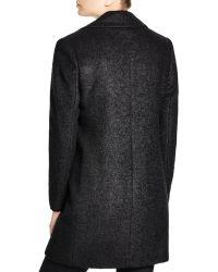 DKNY - Boiled Wool Blend Reefer Coat - Lyst
