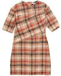Carven Plaid Short Sleeve Dress brown - Lyst