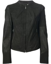 Armani Jeans Black Leather Jacket - Lyst