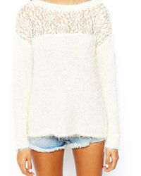 Asos Fluffy Sweater with Lace Insert - Lyst