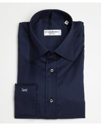 Saint Laurent Navy Cotton Point Collar Dress Shirt - Lyst