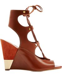 Chloé Eliza Leather Wedge Sandals - Lyst