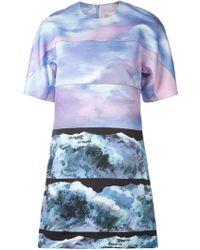 Victoria, Victoria Beckham Wave Print Tunic Dress - Lyst