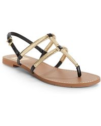 Dv By Dolce Vita Gava Gold Metallictrimmed Flat Sandals - Lyst