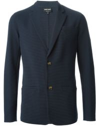 Giorgio Armani Blue Textured Blazer - Lyst