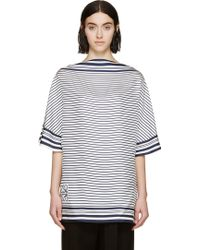 Loewe Navy And White Striped Scarf Top - Lyst