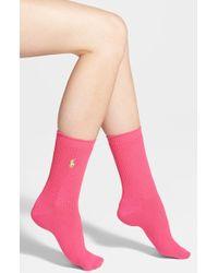 Ralph Lauren Waffle Knit Crew Socks - Lyst