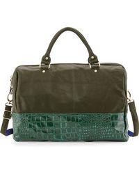 Deux Lux - Essex Faux-leather Snake-print Weekender Bag - Lyst