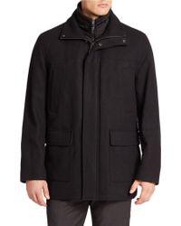 Calvin Klein Layrered-Look Wool-Blend Coat black - Lyst