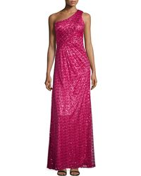La Femme Sequined One-Shoulder Gown - Lyst