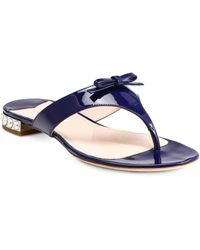 Miu Miu Patent Leather Crystal-heel Thong Sandals - Lyst
