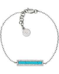 Michael Kors Silver-Tone And Turquoise Bar Bracelet - Lyst