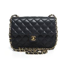 Chanel Pre-owned Navy Lambskin Vintage Mini Flap Bag - Lyst