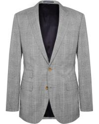 J.Crew Grey Slim-Fit Prince Of Wales Checked Wool And Linen-Blend Suit Jacket - Lyst