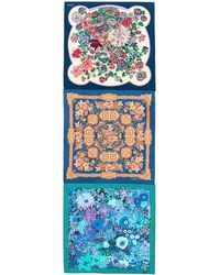 Ibrigu - One Of A Kind Patchwork Floral Tile Silk Scarf - Lyst