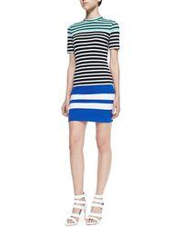 T By Alexander Wang Multi-stripe Fitted Knit Dress - Lyst