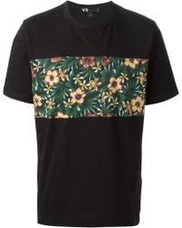 Y-3 Floral-paneled Cotton T-shirt - Lyst