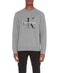 Calvin Klein Logo-Print Cotton-Jersey Sweatshirt - For Men gray - Lyst