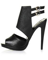 Topshop Rich Snake-effect Sandals - Lyst