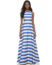 Alice + Olivia Alice + Olivia Marsha Striped Gown - Blue/White Stripe - Lyst