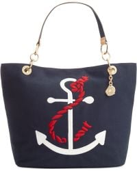Tommy Hilfiger Th Signature Embroidered Anchor Canvas Tote - Lyst