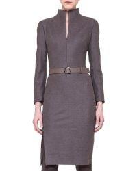 Akris Flannel Long-sleeve Zip-front Dress - Lyst