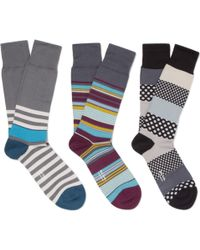 Paul Smith Three-pack Patterned Cotton-blend Socks - Lyst