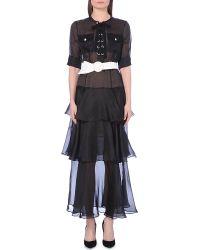 Alessandra Rich Tiered-Skirt Silk Dress - For Women - Lyst