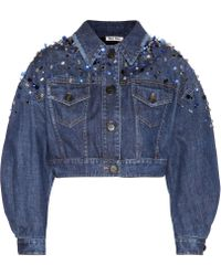 Miu Miu Crystal Embellished Cropped Denim Jacket - Lyst